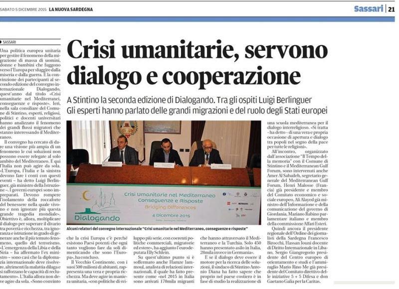 Crisi umanitarie servono dialogo e cooperazione_dicembre 2015