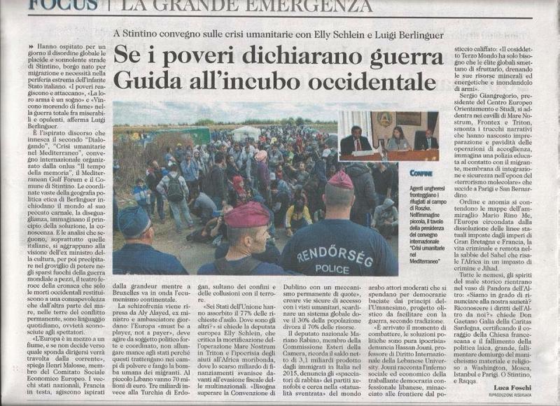 Articolo su L'Unione Sarda del 6 dicembre 2015